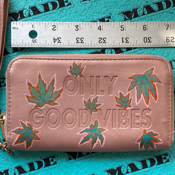 Good Vibes hand painted zipper pouch